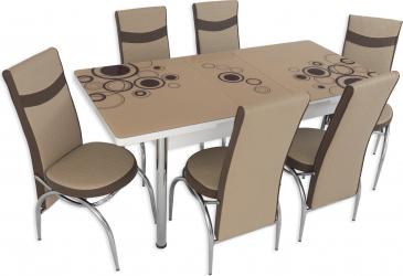 Set masa extensibila Crem Cerc cu 6 scaune Crem-Maro