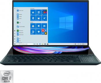 Ultrabook Asus Zenbook Pro Duo Intel Core (10th Gen) i7-10870H 1TB SSD 32GB RTX 3070 8GB 4K Touch Win10 Pro T.Ilum. Celestial Blue