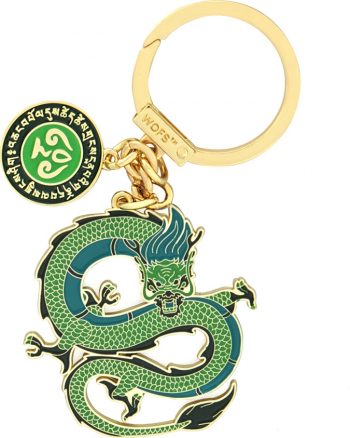 Amuleta cu Dragonul Verde remediu Feng Shui din Metal 50 mm lungime
