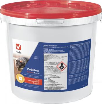 Raticid profesional otrava cuburi cerate Vebitox Broma Block 5 kg anti soareci si sobolani