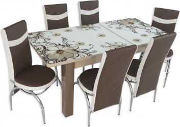 Set masa extensibila Dalia picior PAL cu 6 scaune Maro-Alb