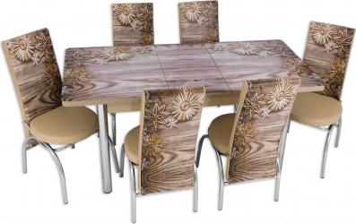 Set masa extensibila Fulg de Nea cu 6 scaune imprimate