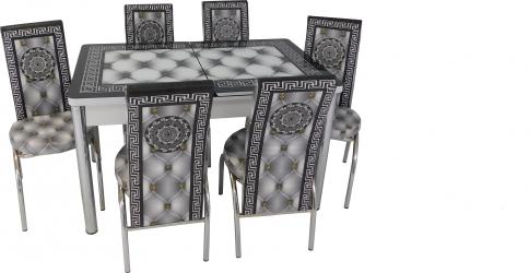 Set masa extensibila Venus Gri cu 6 scaune imprimate