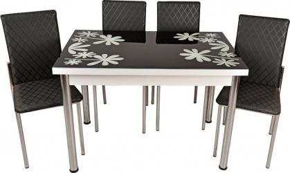 Set masa fixa Bronze White Flower cu 4 scaune negre Seturi mobila bucatarie