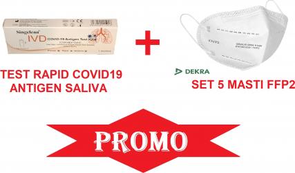 Test rapid COVID-19 Antigen Saliva 1 buc + 5 buc masti FFP2 certificate DEKRA COVID 19 Teste rapide covid anticorpi antigen