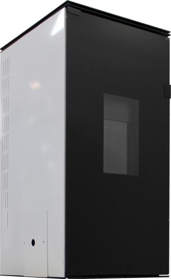 Termosemineu pe peleti cu agent termic Fornello 25 kW White Glass Special Edition complet echipat pentru incalzire cu pompa vas expansiune Termoseminee