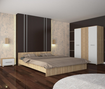 Set Dormitor Era Sonoma/Alb 160x200 cm cu sifonier cu 3 usi 123 6x187 cm