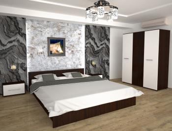 Set Dormitor Era Wenge/Alb 160x200 cm cu sifonier in 3 usi 123 6x187 cm