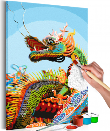 Pictura pe numere - Dragonul colorat - 40 x 60 cm