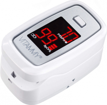 Pulsoximetru Vitammy Sat ecran luminos rezistent indica nivelul de saturatie a oxigenului masoara ritmul cardiac