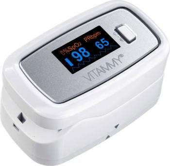 Pulsoximetru Vitammy Sat Plus rezistent rotire automata a ecranului indica nivelul de saturatie a oxigenului masoara rata pulsului
