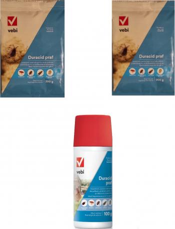 Insecticid acaricid 2x Duracid praf 200 gr si 1x Duracid tub 100 gr anti purici acarieni la gaini acarieni praf furnici
