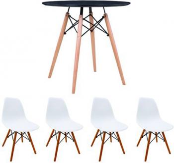 Set masa cu 4 scaune MB-63 N 80 x 80 x 74 cm culoare Alb