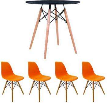 Set masa cu 4 scaune MB-63 N 80 x 80 x 74 cm S-114 P culoare Portocaliu