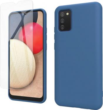 Husa protectie pentru Samsung Galaxy A02S ultra slim din silicon Albastru silk touch interior din catifea