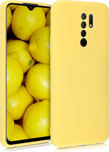 Husa protectie pentru Xiaomi Redmi 9 ultra slim din silicon Galben silk touch interior din catifea