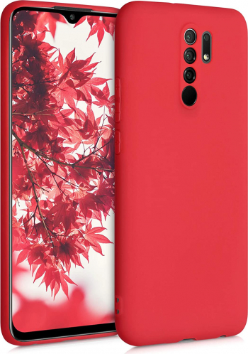 Husa protectie pentru Xiaomi Redmi 9 ultra slim din silicon Rosu silk touch interior din catifea