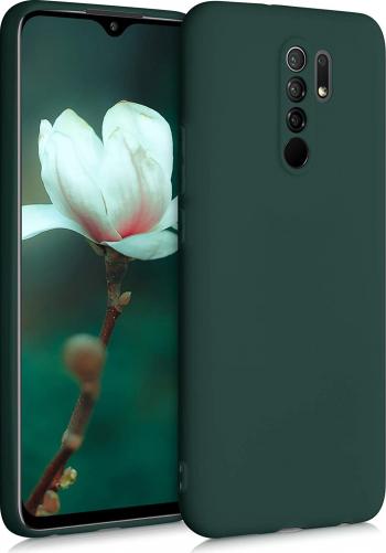 Husa protectie pentru Xiaomi Redmi 9 ultra slim din silicon Verde inchis silk touch interior din catifea