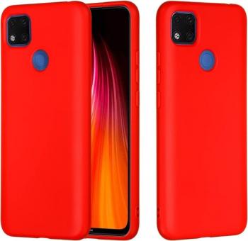 Husa protectie pentru Xiaomi Redmi 9C ultra slim din silicon Rosu silk touch interior din catifea