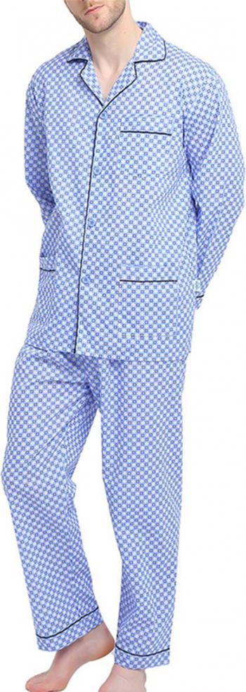 Pijama Barbati GLOBAL Clasica Panza Set Carouri Albastru Marimea L 50 EU