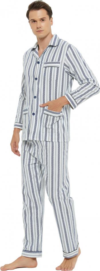 Pijama Barbat GLOBAL Clasica Panza Set dunga Gri/Albastru 52 EU Marimea XL