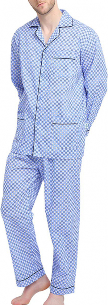 Pijama Barbati GLOBAL Clasica Panza Set Carouri Albastru Marimea 58 EU