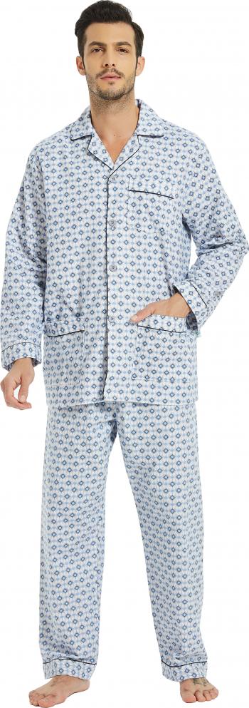 Pijama Barbati GLOBAL Clasica Panza Set Carouri GRI 46 EU Marimea M