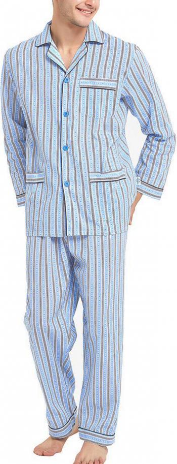 Pijama Barbati GLOBAL Clasica Panza Set Dunga Albastra Marimea 48 EU