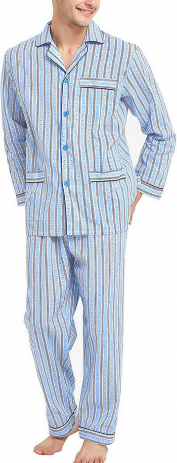 Pijama Barbati GLOBAL Clasica Panza Set Dunga Albastra Marimea 56EU