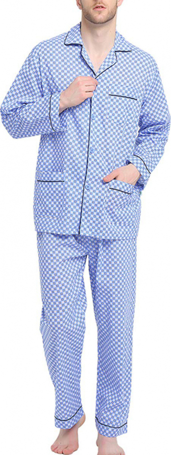 Pijama Clasica Barbat 100 Bumbac Set Carouri Albastru Marimea 48 EU M