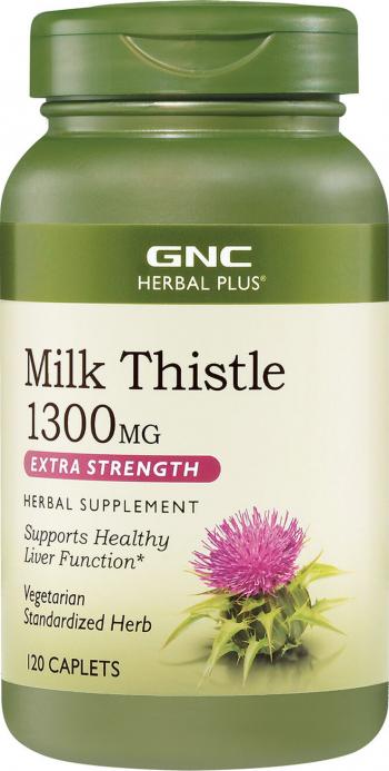 GNC Herbal Plus and reg Milk Thistle Silimarina 1300 mg Extract din Seminte de Armurariu 120 cps