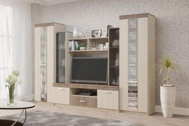 Set mobila living Venetia PAL melaminat Stejar inchis/Stejar deschis 292x47x200