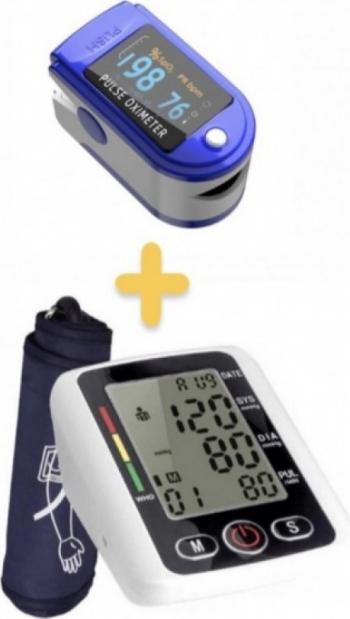 OFERTA 2021 PACHET TENSIOMETRU + OXIMETRU Tensiometru Electronic Pentru Brat Display LCD + Aparat de masurare puls Oximetru pentru deget
