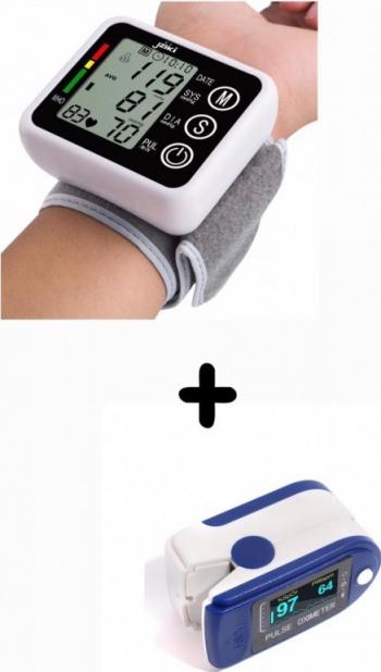 Oferta 2021 Tensiometru pentru incheietura mainii + Aparat de masurare puls Oximetru pentru deget cu display