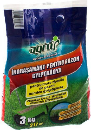 Ingrasamant Agro Poate fi utilizat pentru fertilizarea de baza a gazonului Contine azot fosfor potasiu