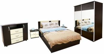 Dormitor Laguna cu pat 140x200 cu somiera rabatabila WengeVanilie Seturi mobila dormitor