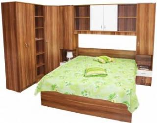Dormitor Nora pe colt cu pat 160x200 cm Prun Alb