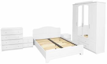 Dormitor Sara cu pat 160x200 cm Alb MDF Alb
