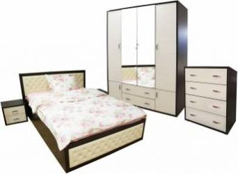 Dormitor Torino cu pat cu somiera metalica rabatabila pentru saltea 140x200 cm Wenge Brad