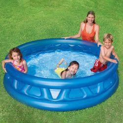 Mini-piscina gonflabila albastra pentru copii 114x25 cm Piscine