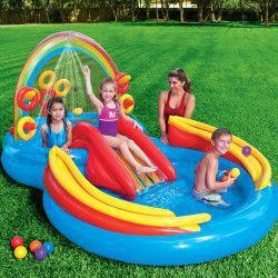 Mini-piscina gonflabila colorata cu stropitoare pentru copii 297x193 cm Piscine