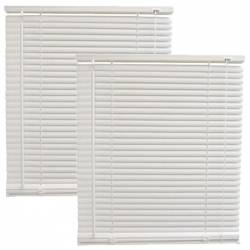 Pachet 2 bucati - Jaluzele din plastic albe jaluzea PVC orizontala pentru geam 30x120cm