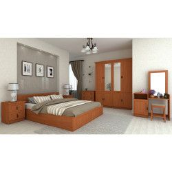 Set Dormitor LOTUS cu Dulap Comoda de Toaleta Pat si Noptiere Cires Seturi mobila dormitor