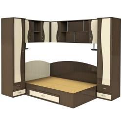 Set Dormitor Tineret pe Colt 187x247x200cm Wenge+Mesteacan