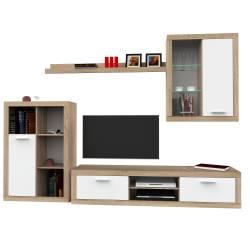 Set Living SUNSET 275x40x195cm Stejar Sonoma + Alb Seturi mobila living