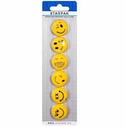 Set magneti Emoji 6 emoticoane Smiley Face 30mm galben Articole si accesorii birou