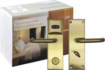 Yala control acces hotelier PNI CH2000L Auriu cu cititor de card deschidere pe partea stanga Yale si Electromagneti
