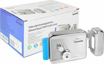 Yala electromagnetica SilverCloud YE910 din inox cu butuc dublu si buton Butuci, Yale si Incuietori
