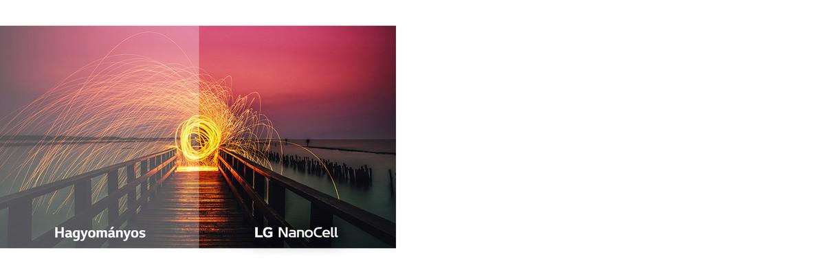 A képminőség összehasonlítása egy láng képével a hagyományos és a Full Array Dimming háttér-világítási technológia esetén