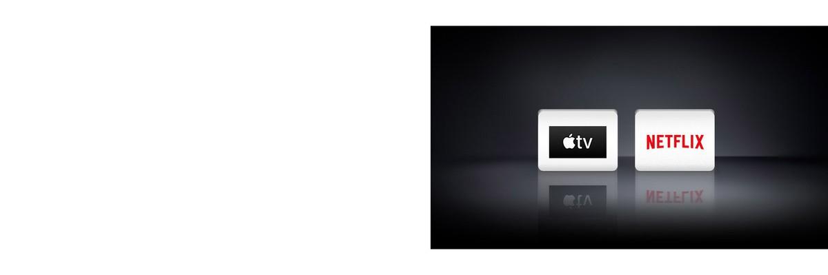 Четири логотипа: Приложението Apple TV и Netflix